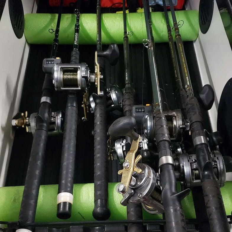 fishing rod locker with pool float