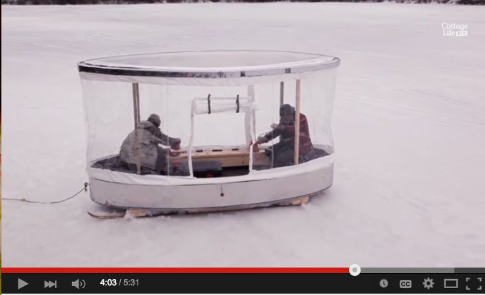 Building An Ice Shanty Out Of An Old Ford Dealership Sign