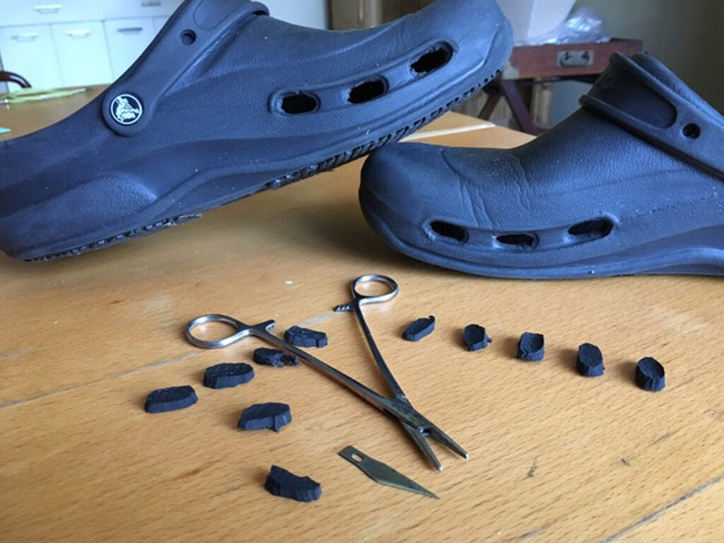 Crocs Bistro Shoes, X-Acto knife, fishing forceps,