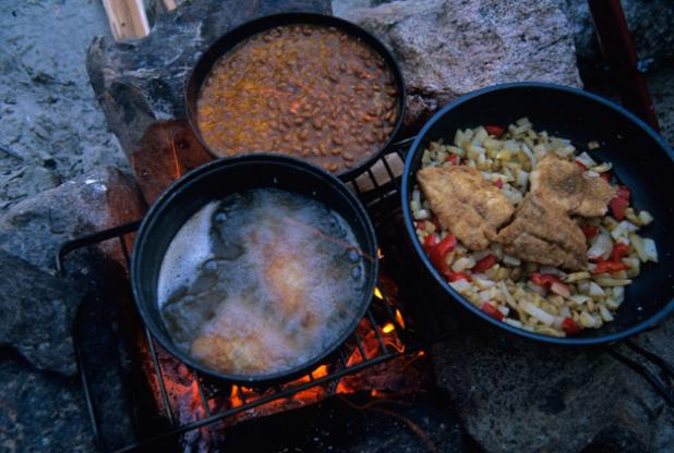 An ideal meal during a peaceful night at fishing camp.