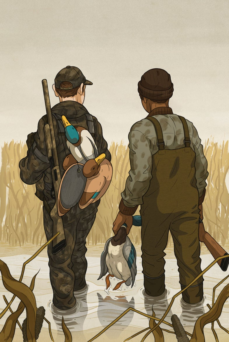 duck hunting buddies illustration