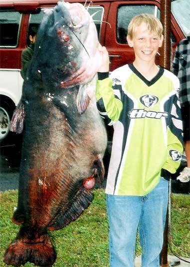 Zachery Lovelady with 109 lb catfish