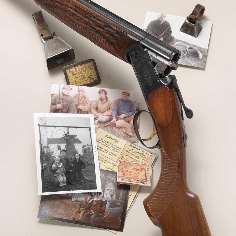 old photographs and a hunting gun