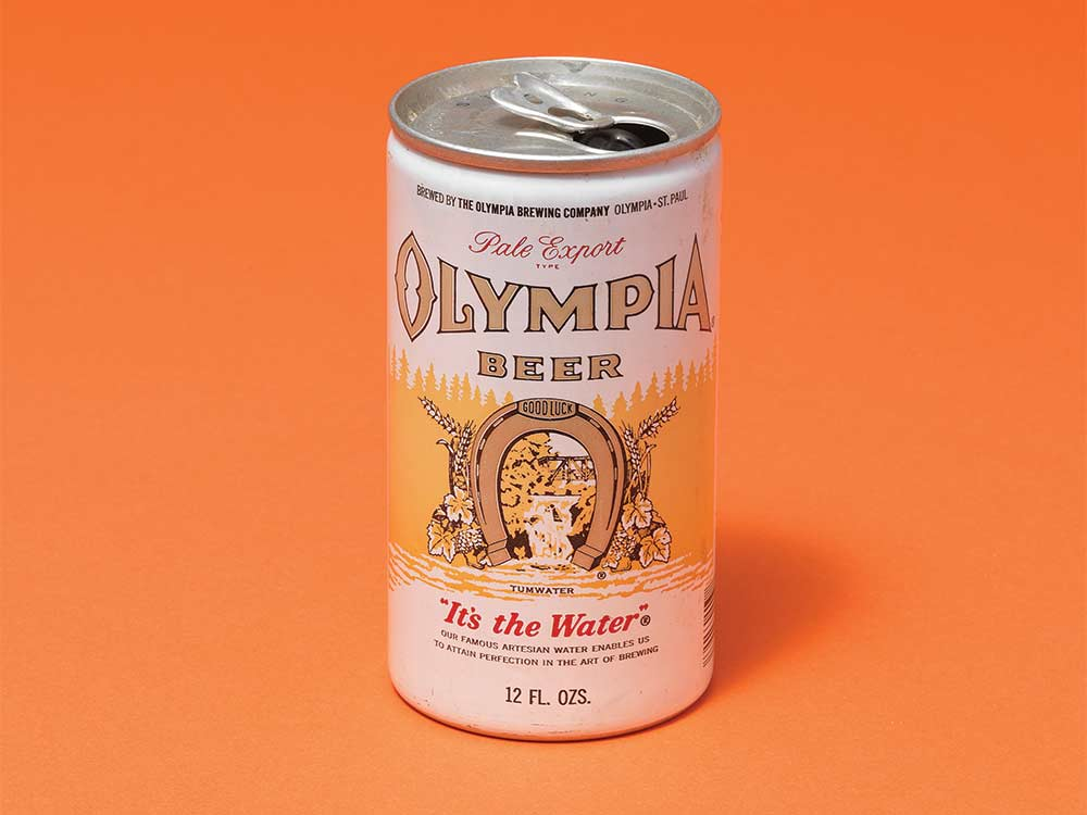 can of olympia beer on an orange background
