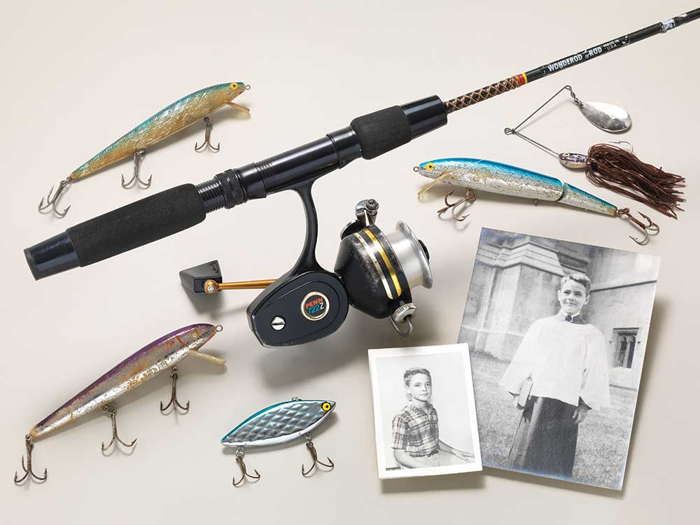 old photographs and fishing equipment