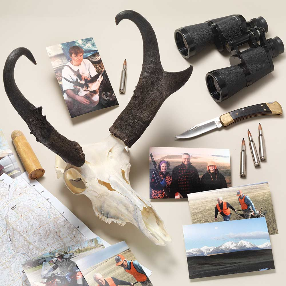collection of hunting gear and trophies