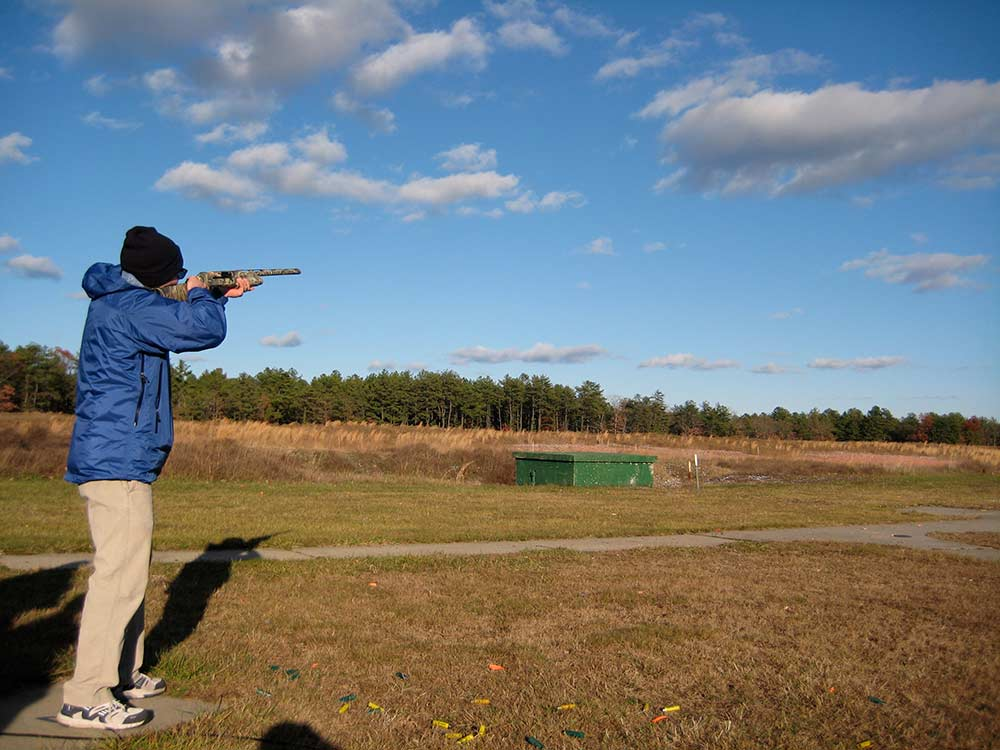 clay shooting in field