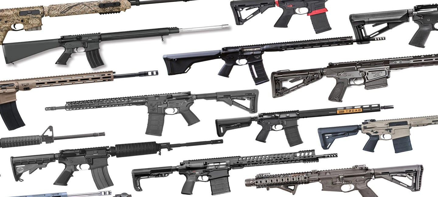 A collage of AR rifles.