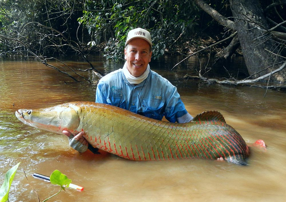 male angler holding a south american arapaima