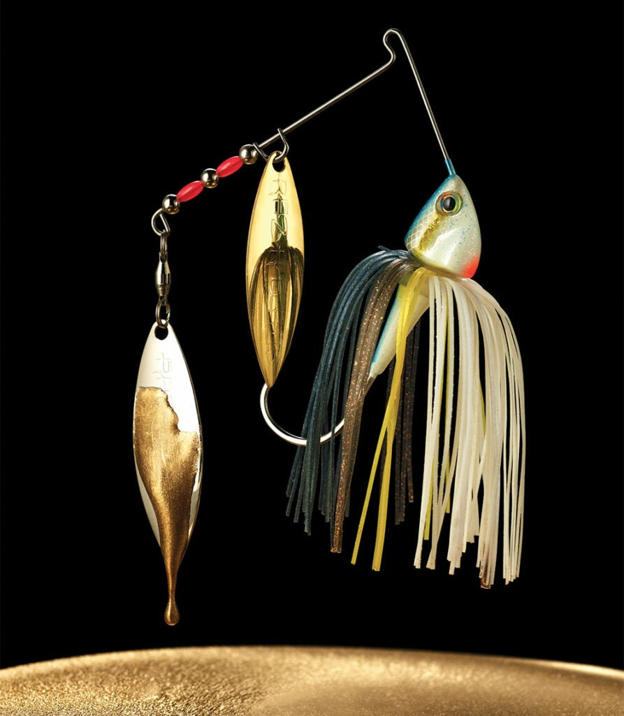 spinnerbait dripping with gold paint