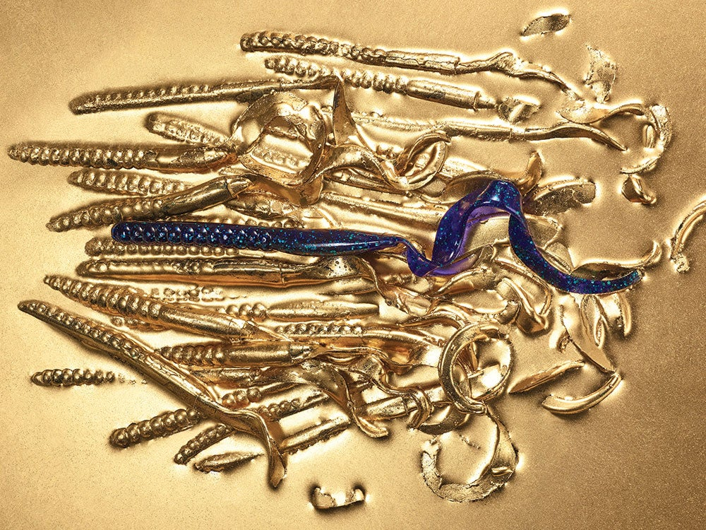 curly tailed worm lures in gold paint