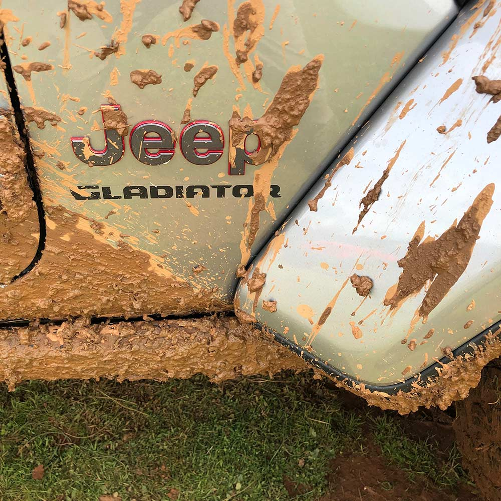 mud on the flaps of 2020 jeep gladiator