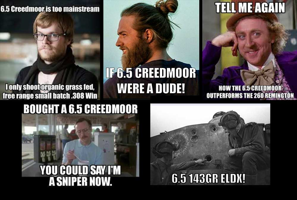 meme collage for the 6.5 creedmoor