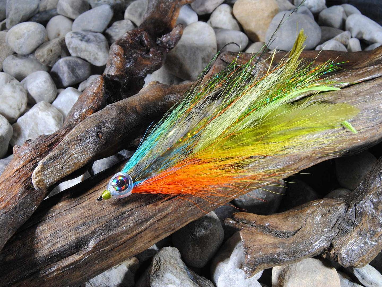 blue orange and yellow deer hair fly
