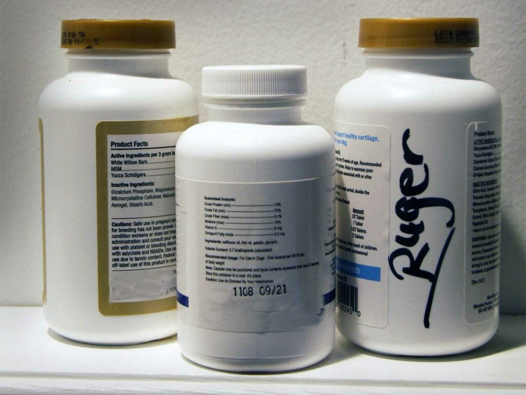 supplements and pill canisters