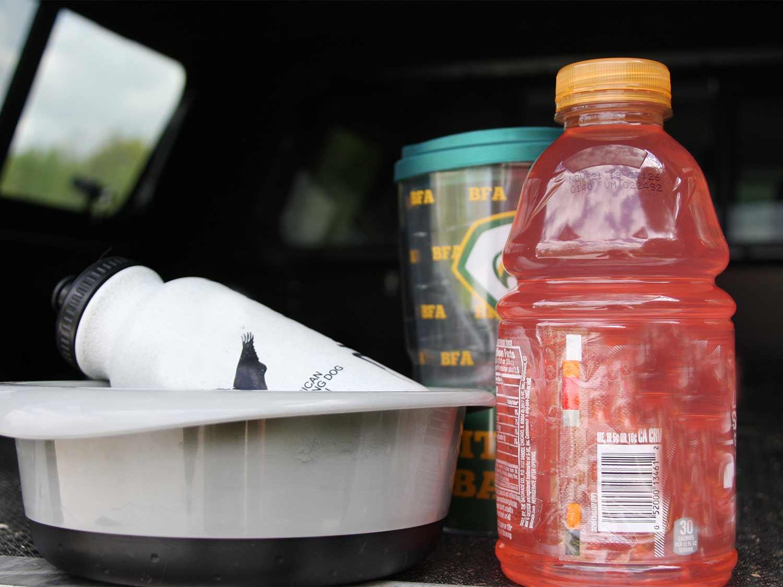 gatorade next to a water bowl