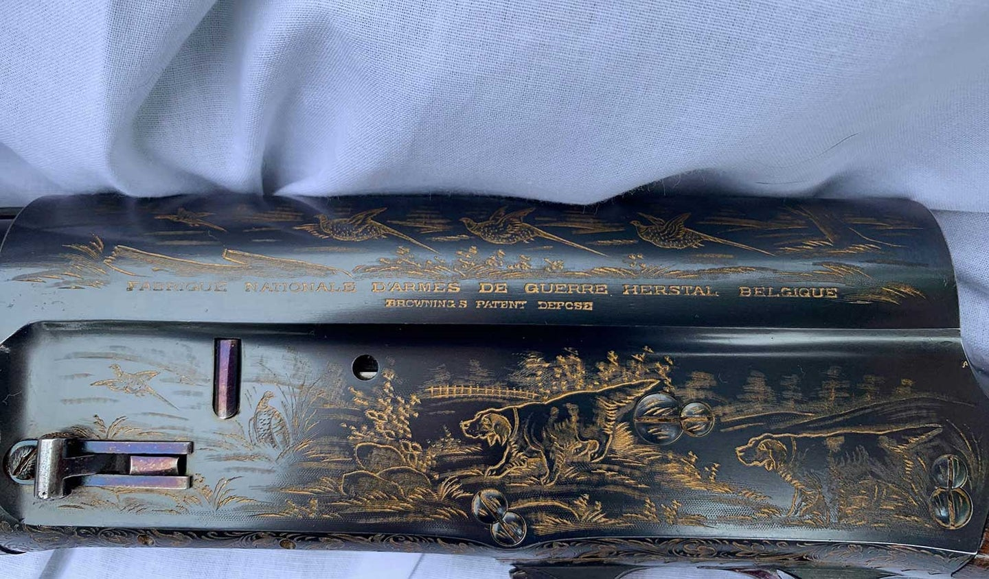Detail of engraving on Browning Auto 5