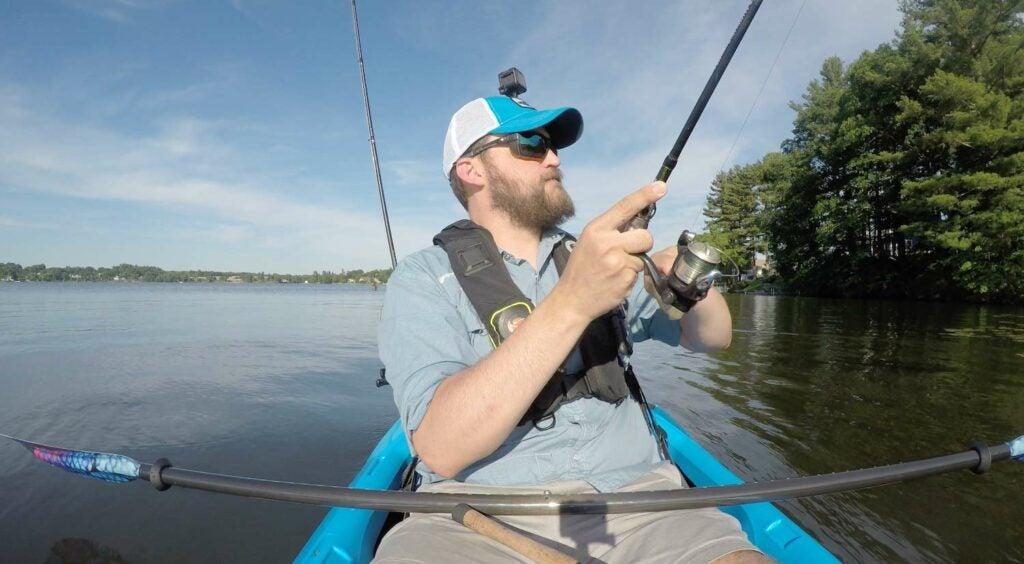 Rigging a DIY ActionHat kit to film freshwater kayak fishing.