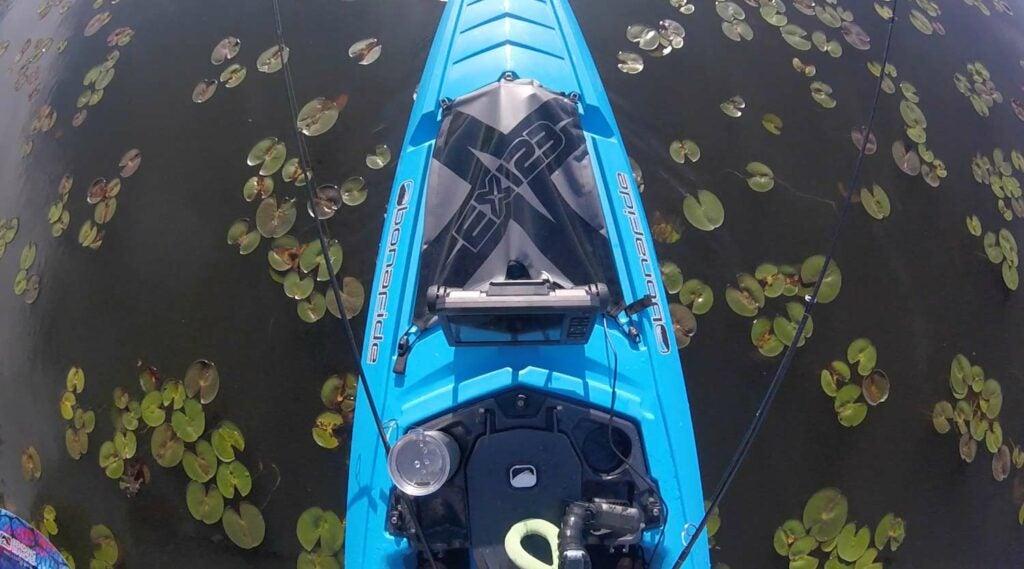 Paddling the Bonafide Kayaks EX123 looking for largemouth bass.