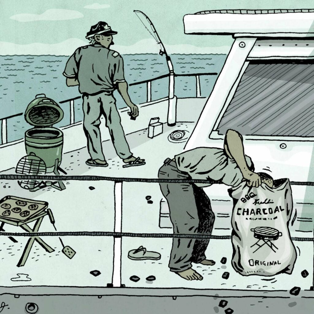 illustration of charcoal and grill on a boat deck