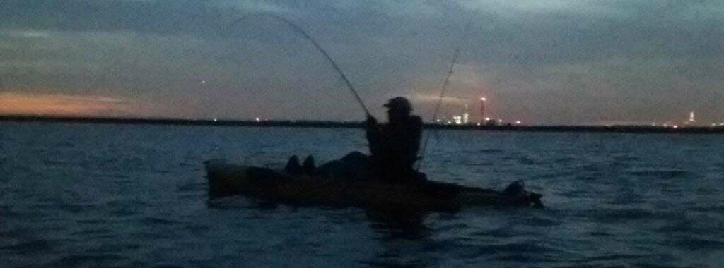 kayak fishing as night
