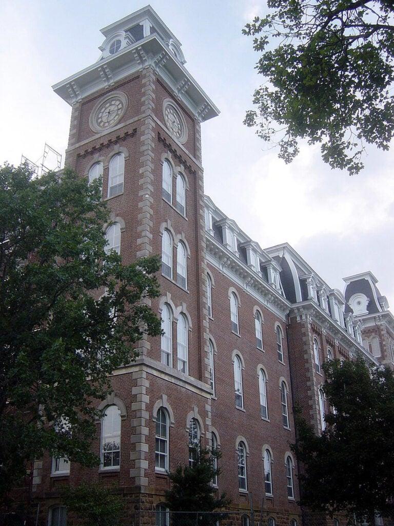 Old Main building at the University of Arkansas