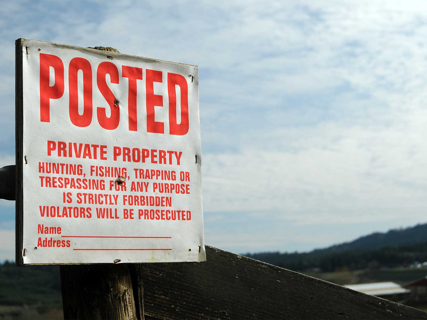 a posted private property