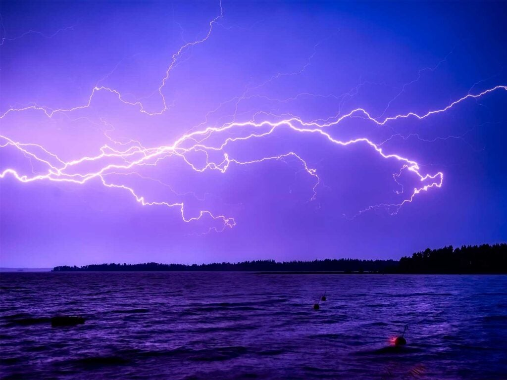 a lightning strike over a large body of water