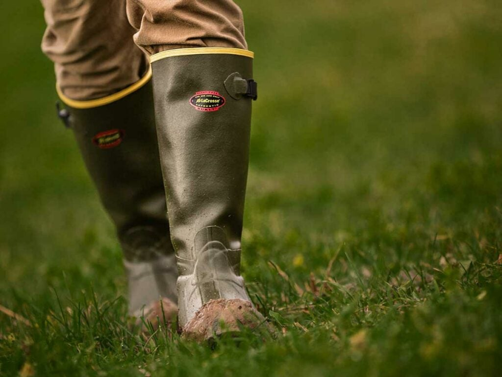 rubber boots in the grass