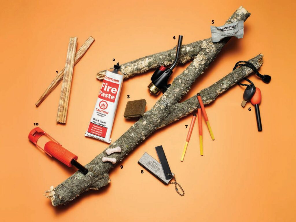 A collection of fire starting survival equipment.