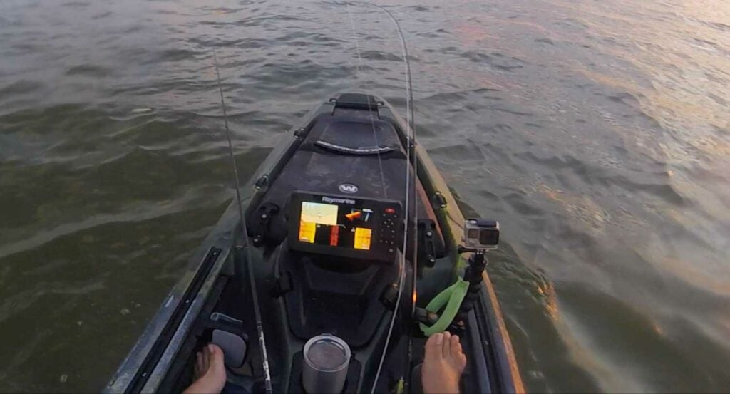 The Raymarine Element 7HV mounted to the Wilderness Systems ATAK 140.