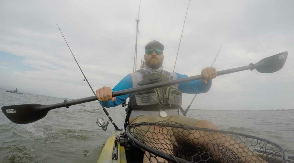 SEO Editor Ben Duchesney paddling with the Kalliste: Hooked paddle from Werner Paddles.