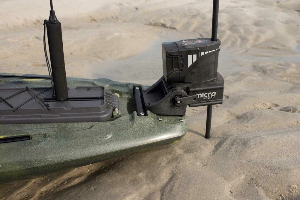 The Power–Pole Micro Anchor System staked out on a sandbar.