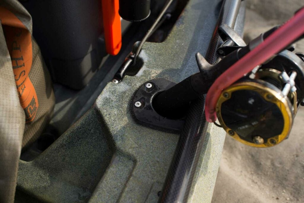 Flush mount rod holders installed on the Wilderness Systems ATAK 140.