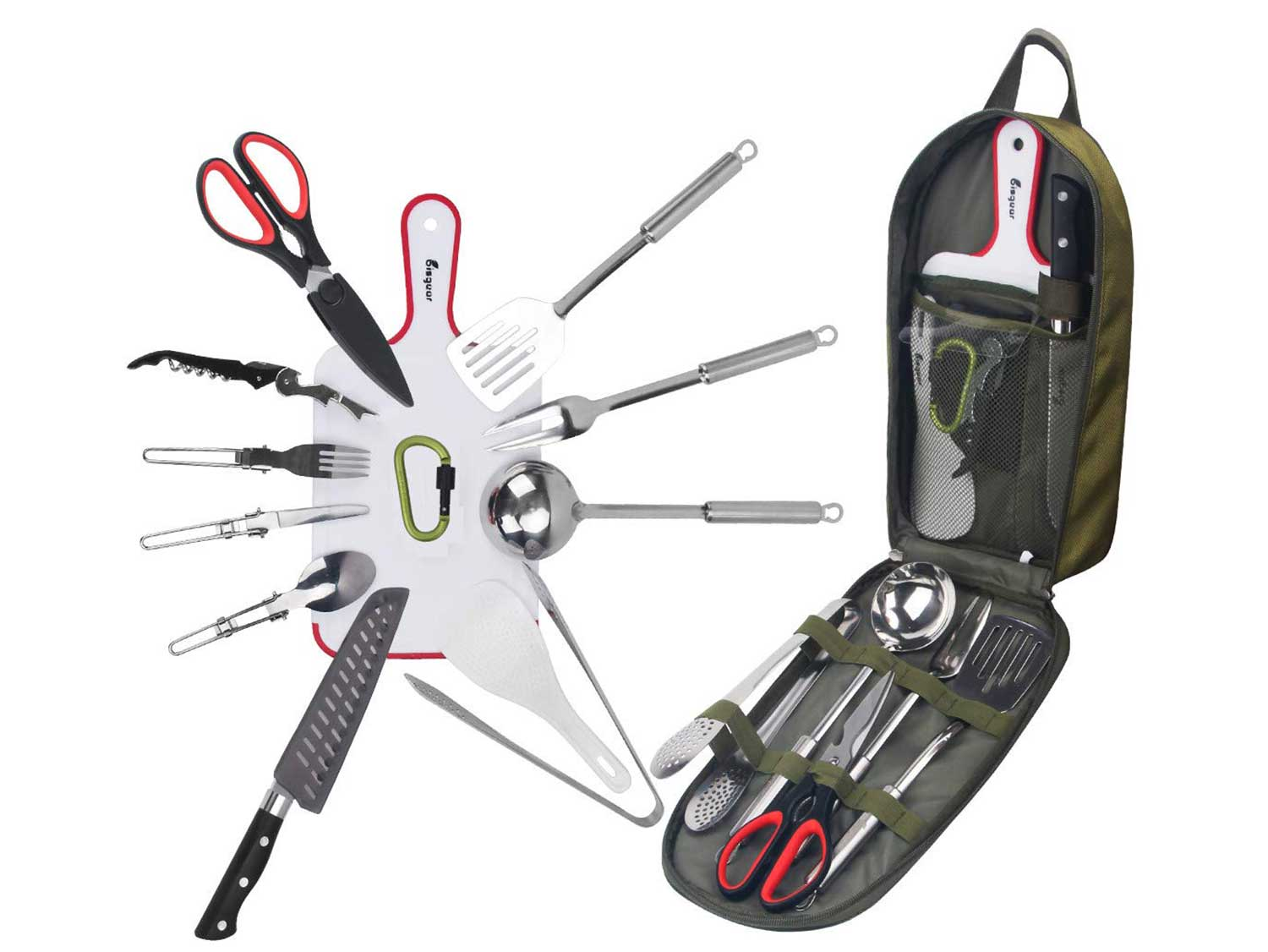 Bisgear 14pcs Backpacking Camping Cookware Kitchen Utensil BBQ Organizer Travel