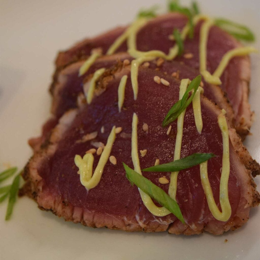 tuna sashimi with wasabi drizzle