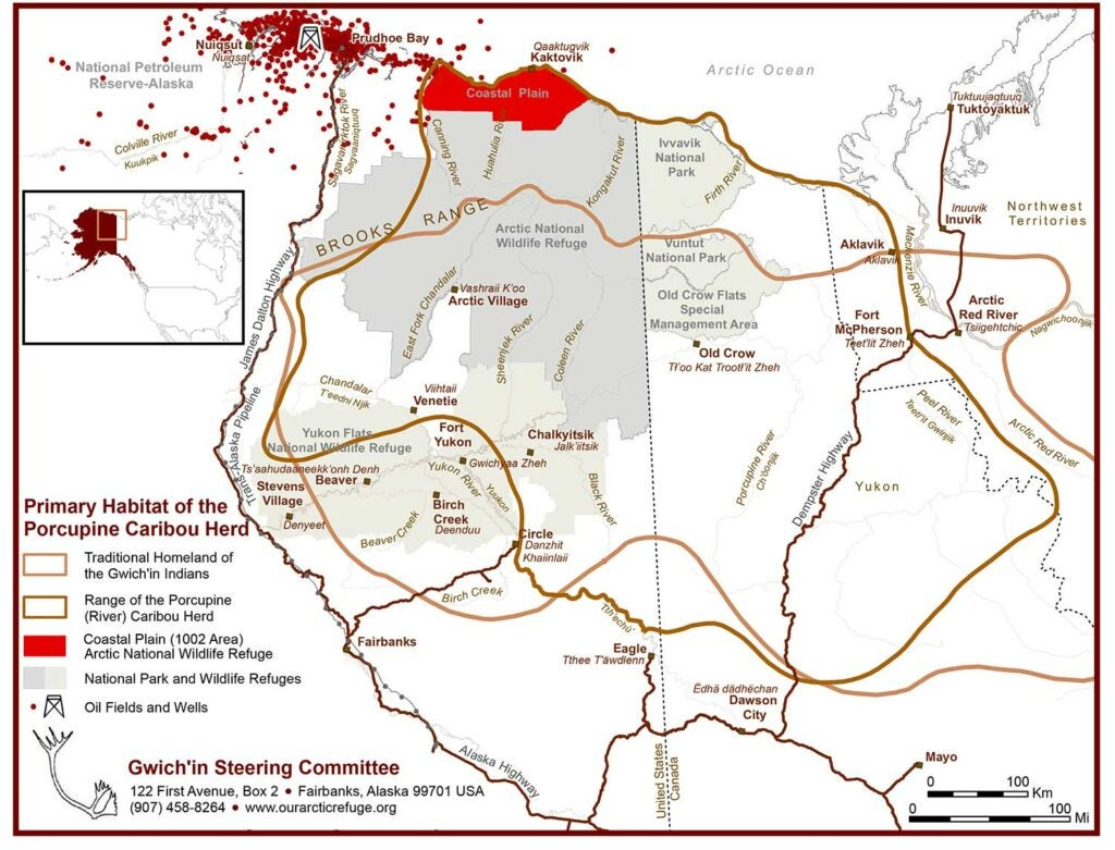 map of the primary habitat of porcupine caribou herd.