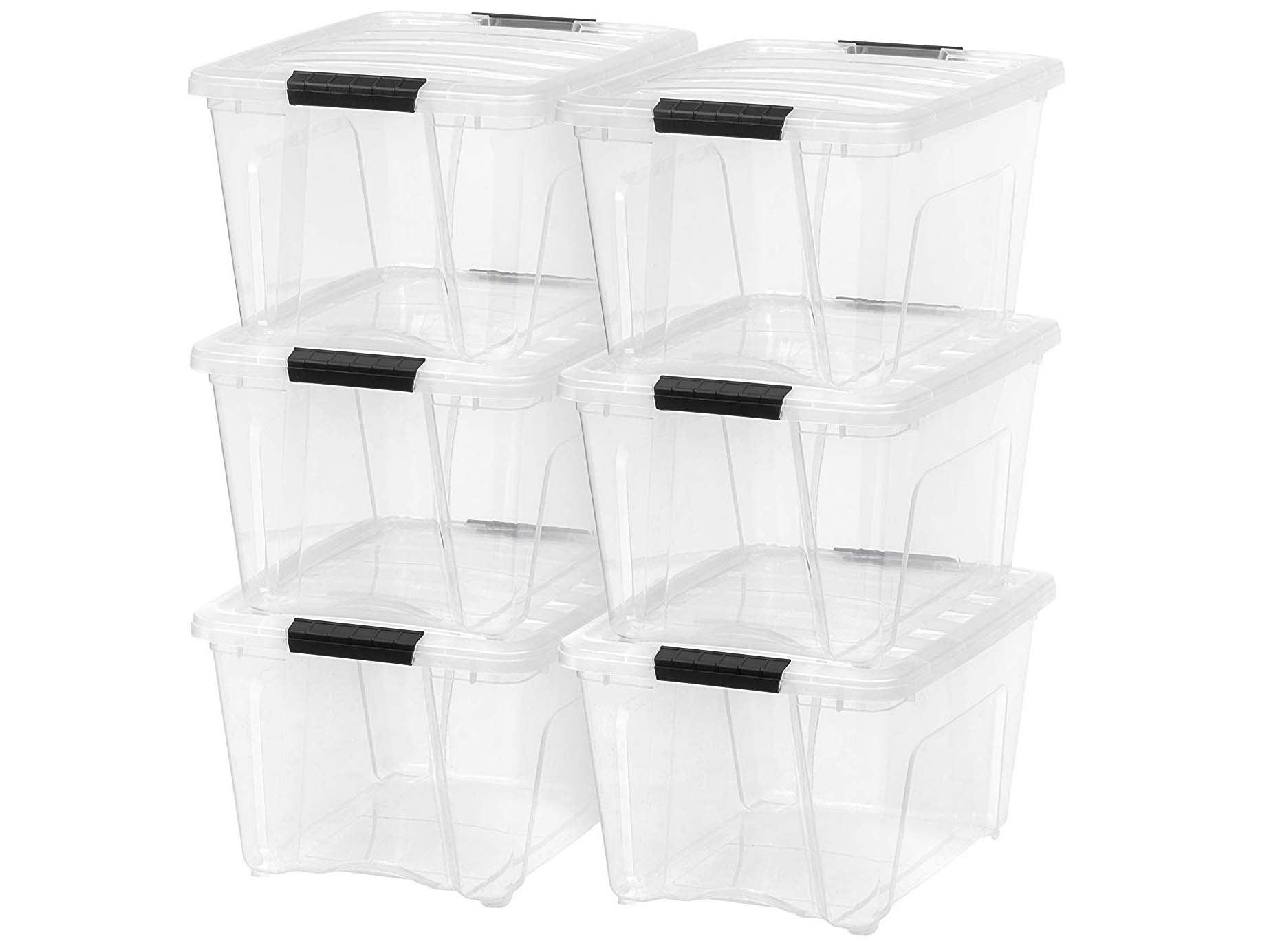 IRIS USA TB-28 32 Quart Stack & Pull Box, Clear, 6 Count