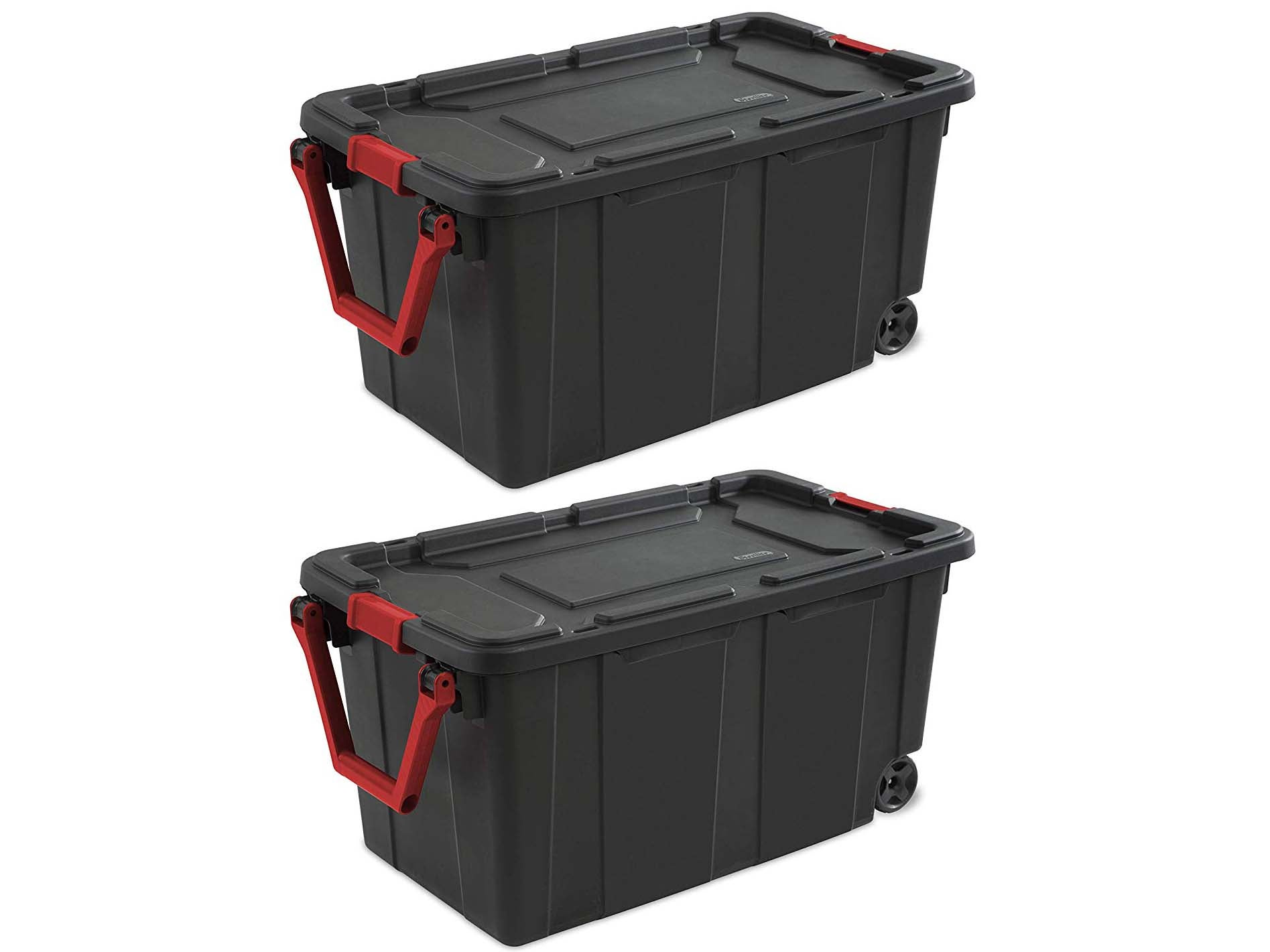 Sterilite 40 Gallon/151 Liter Wheeled Industrial Tote, Black Lid & Base w/ Racer Red Handle & Latches, 2-Pack