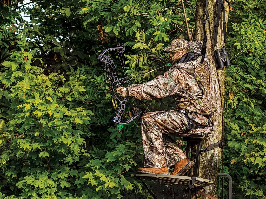 a bowhunter sitting in a treestand while aiming a compound bow