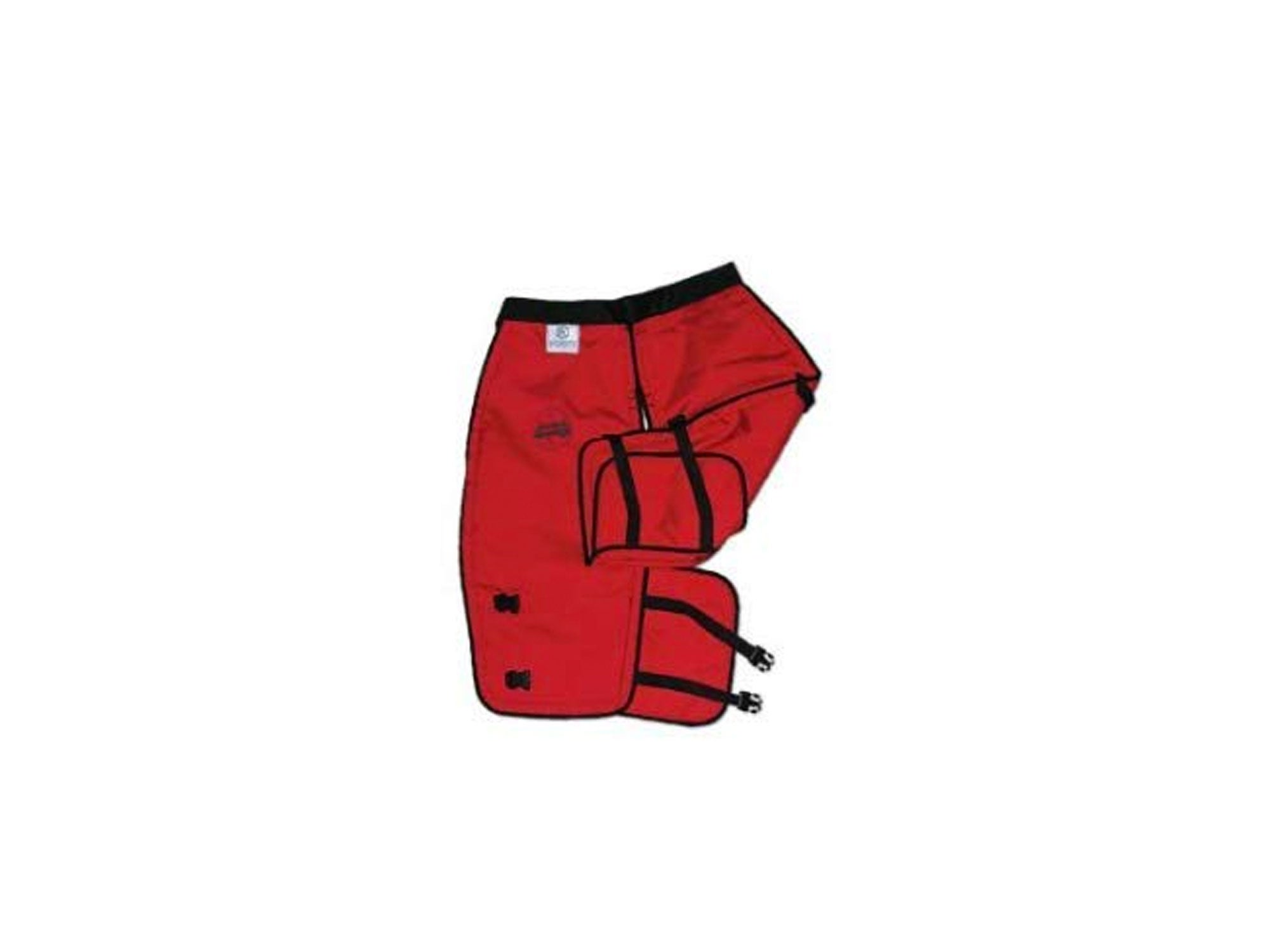 Red chainsaw chaps by Labonville