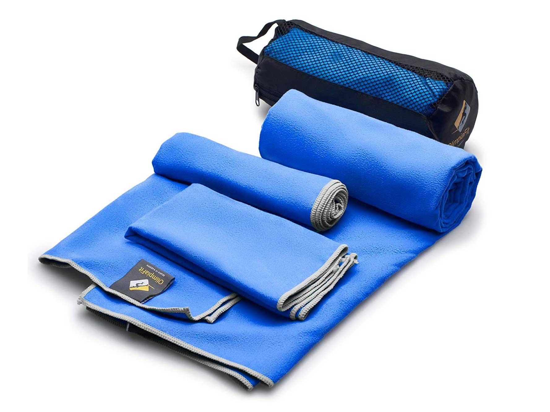 Blue microfiber towel