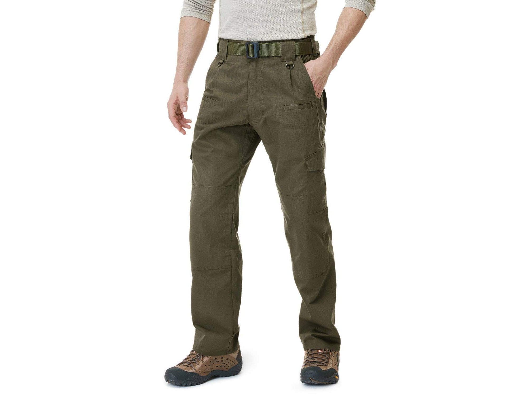 Man wearing army green tactical pants