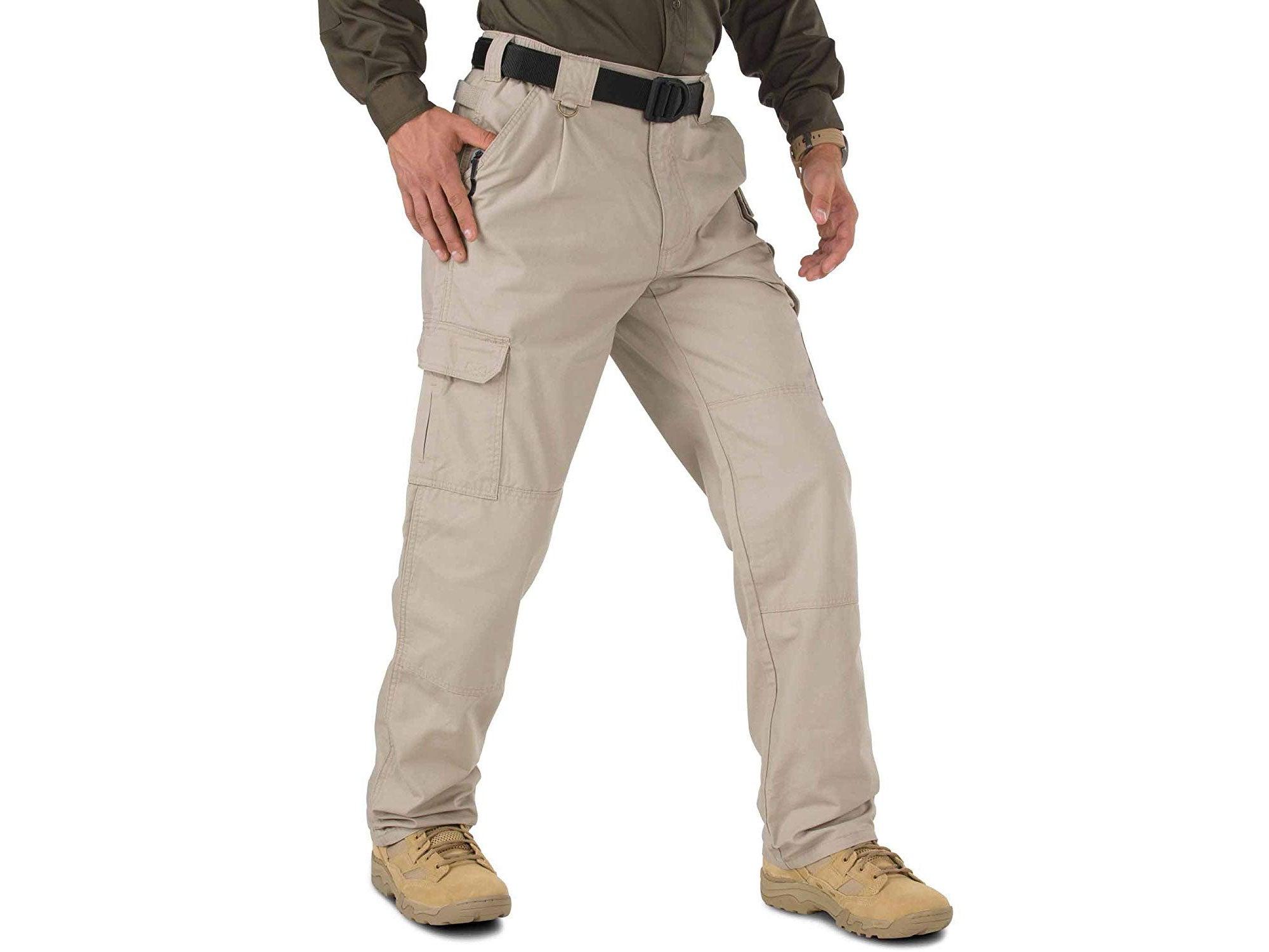 Man wearing tan tactical pants