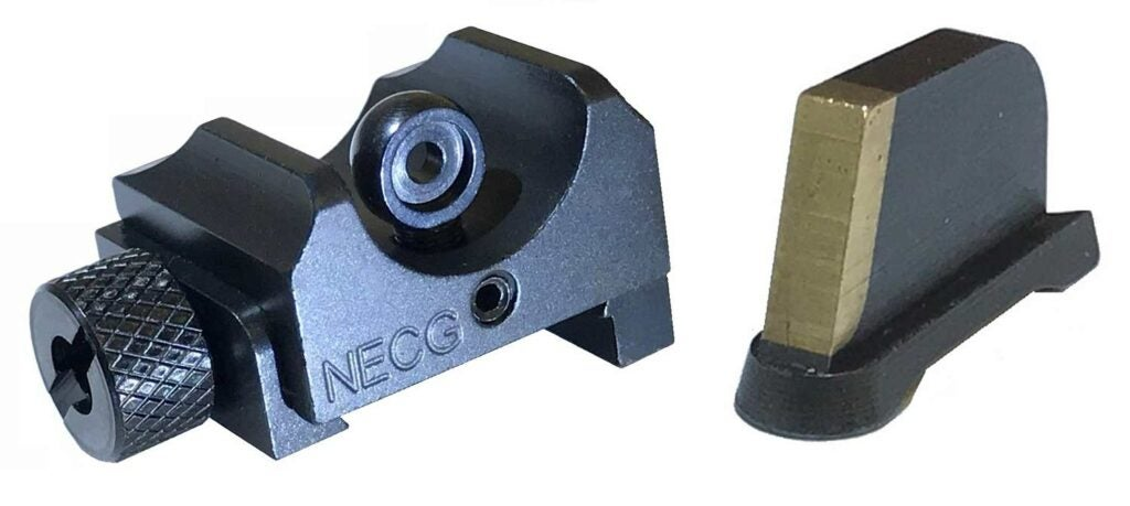 A blade front sight matched with a rear ghost ring.