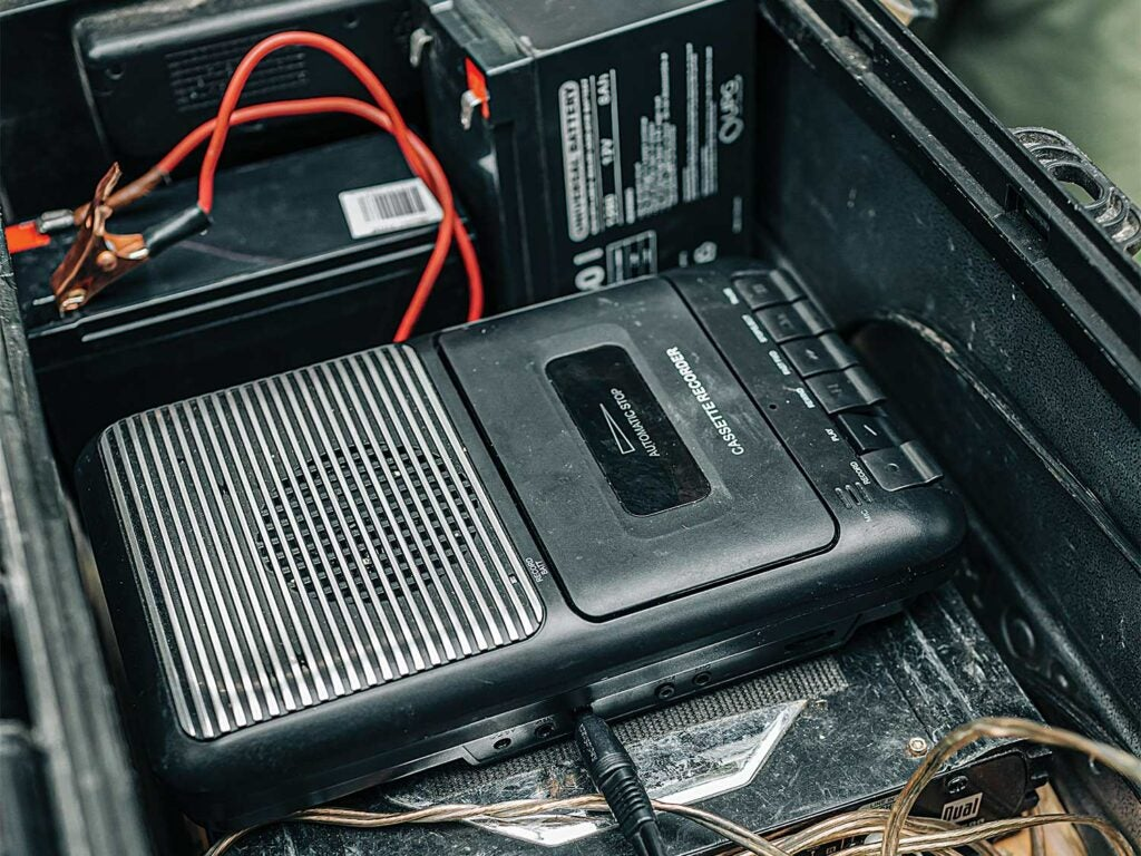 cassette player hooked up to battery wire