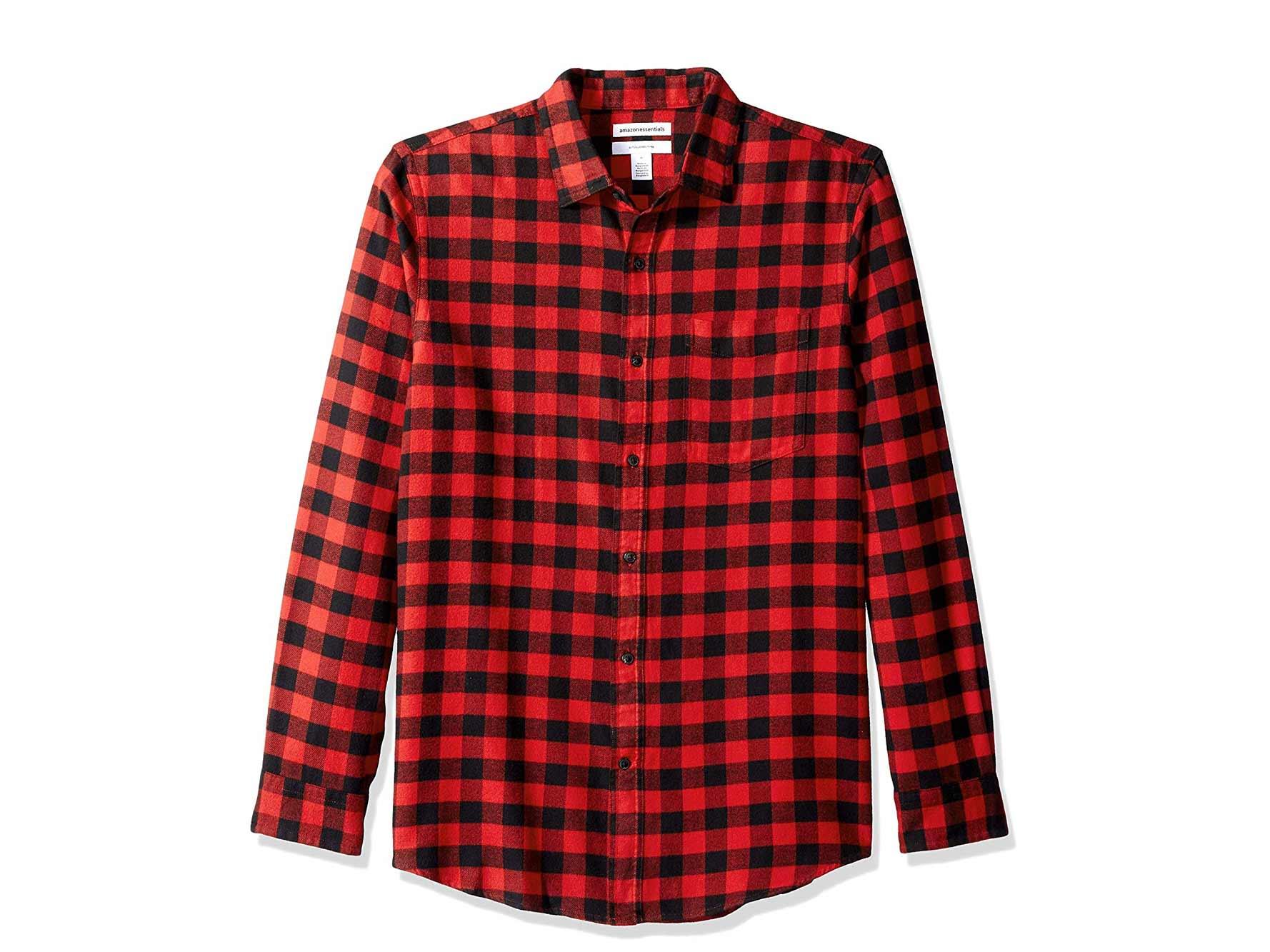 Red and black Amazon Basics plaid shirt