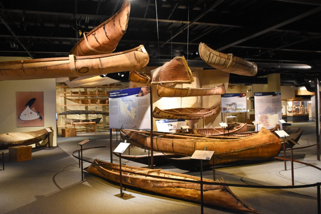 Models of traditional canoes in the Canadian Canoe Museum.