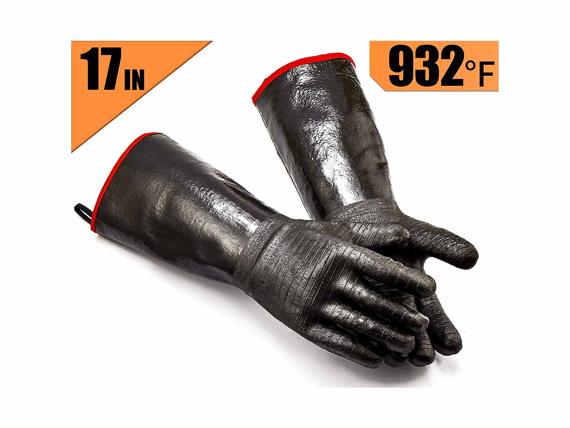 RAPICCA Grill Gloves Heat Resistant-Smoker, BBQ, Cooking Barbecue Gloves, for Handling Heat Food Right on Your Fryer, Grill or Oven. Waterproof, Fireproof, Oil Resistant Neoprene Coating