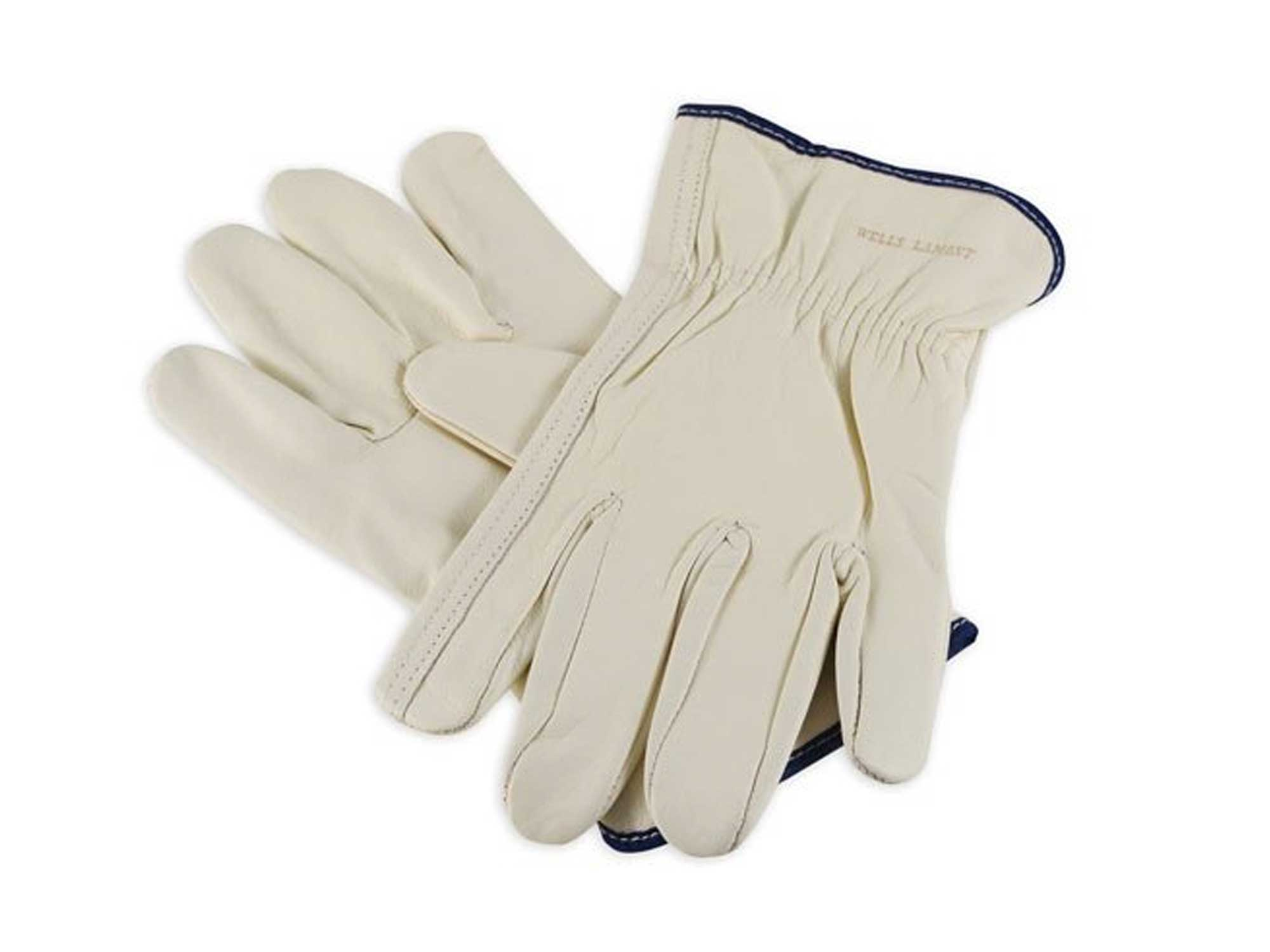 white cow leather gloves